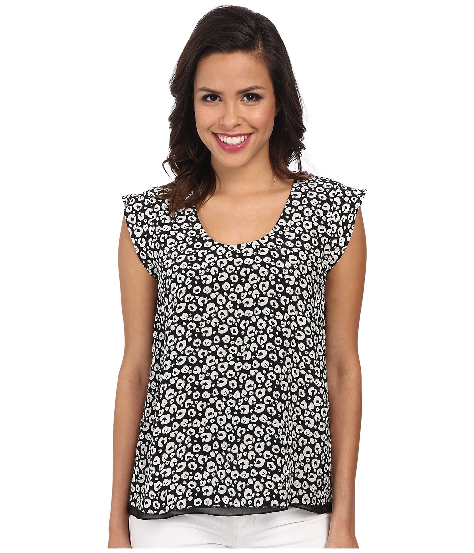 Rebecca Taylor - Short Sleeve Lena Leopard Top (Black) Women's Clothing