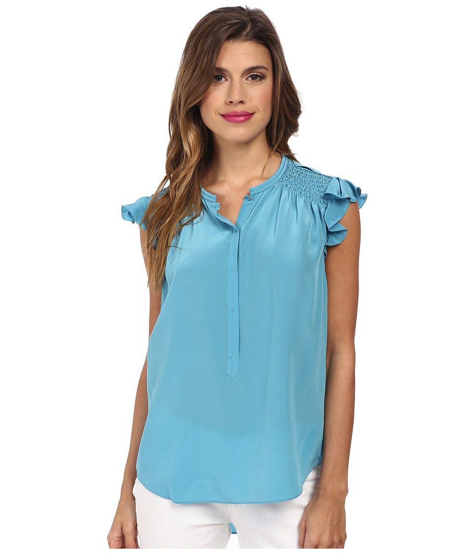 Rebecca Taylor - Sleeveless Silk Ruffle Top (Azurite) Women's Sleeveless