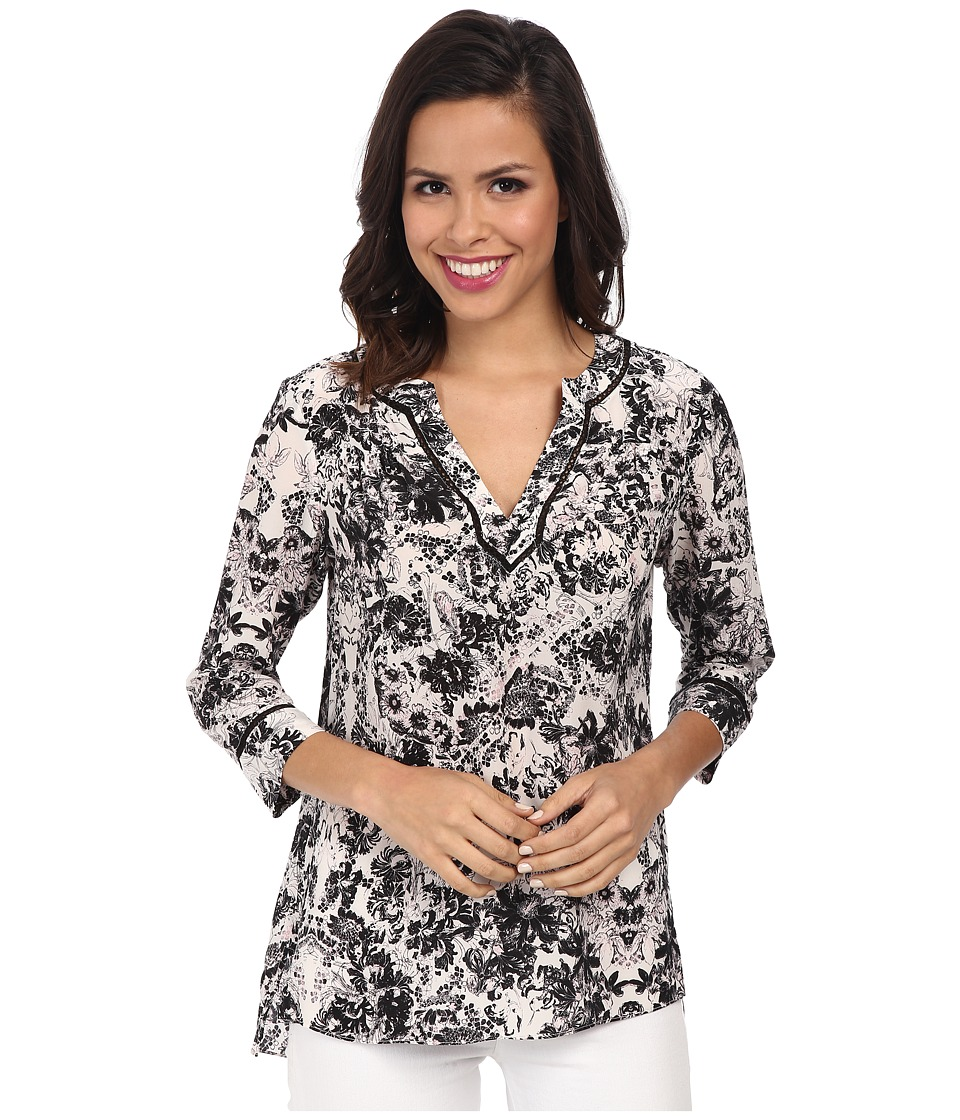 Rebecca Taylor - Long Sleeve Kiku Print Top (Ivory) Women's Clothing