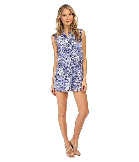 Rebecca Taylor - Sleeveless Leo Fever Romper (Blue Crush) Women