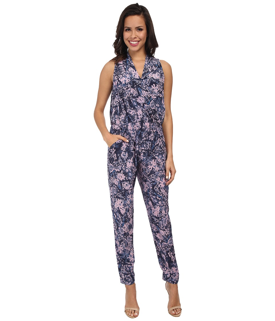 Rebecca Taylor - Sleeveless Kiku Print Jumpsuit (Navy) Women's Jumpsuit & Rompers One Piece