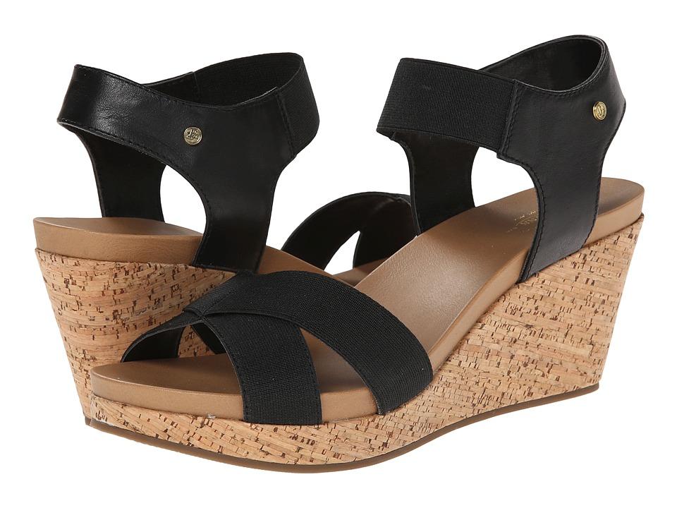 Bass - Nettie (Black Atanado Leather/Elastic) Women's Sandals