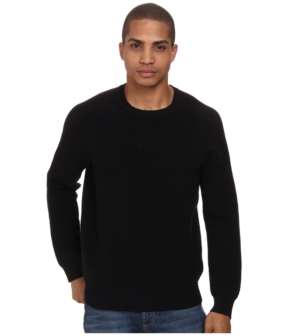 French Connection - Engineered Ottoman Knits (Black) Men's Sweater