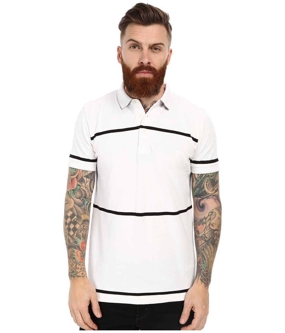 French Connection - Muscari Polo (Wide Stripe White/Black) Men's Clothing