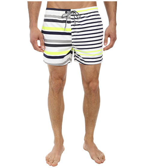 French Connection - Multilex Stripe Drawstring (Fluro Yellow) Men's Swimwear