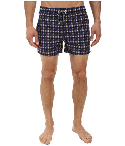 French Connection - Graham Check Drawstring (India Ink/Sand) Men's Swimwear