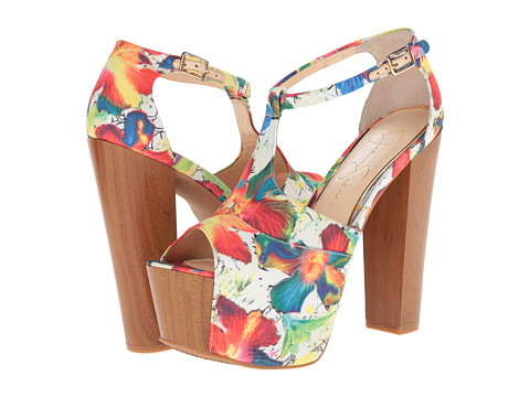 Jessica Simpson - Dany (White Multi Meadow Floral Fabric) High Heels