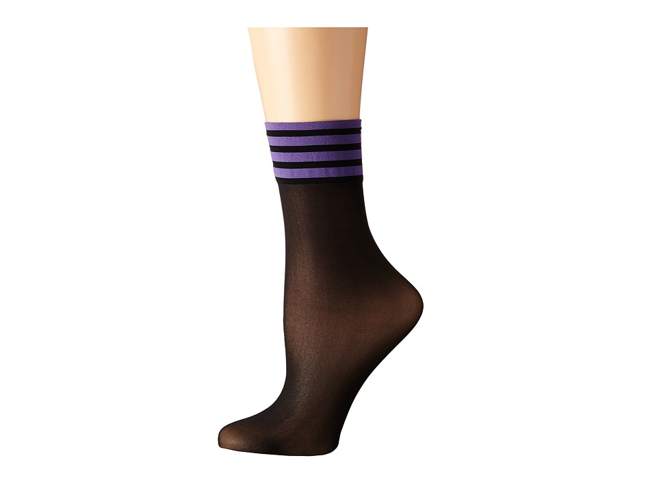 Wolford - Adele Socks (Black/Purple) Women's Crew Cut Socks Shoes