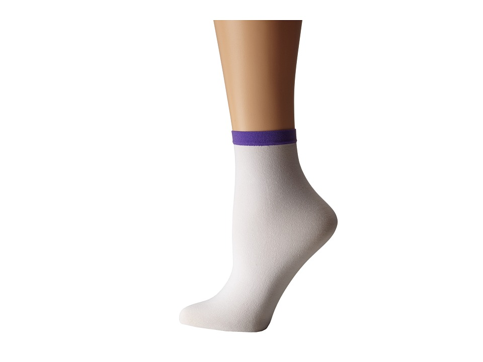 Wolford - Madeleine Socks (White/Purple) Women's Crew Cut Socks Shoes