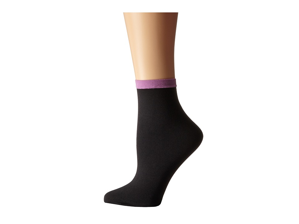Wolford - Madeleine Socks (Black/Wildrose) Women's Crew Cut Socks Shoes