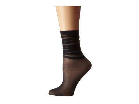 Wolford - Tessa Socks (Black) Women's Crew Cut Socks Shoes