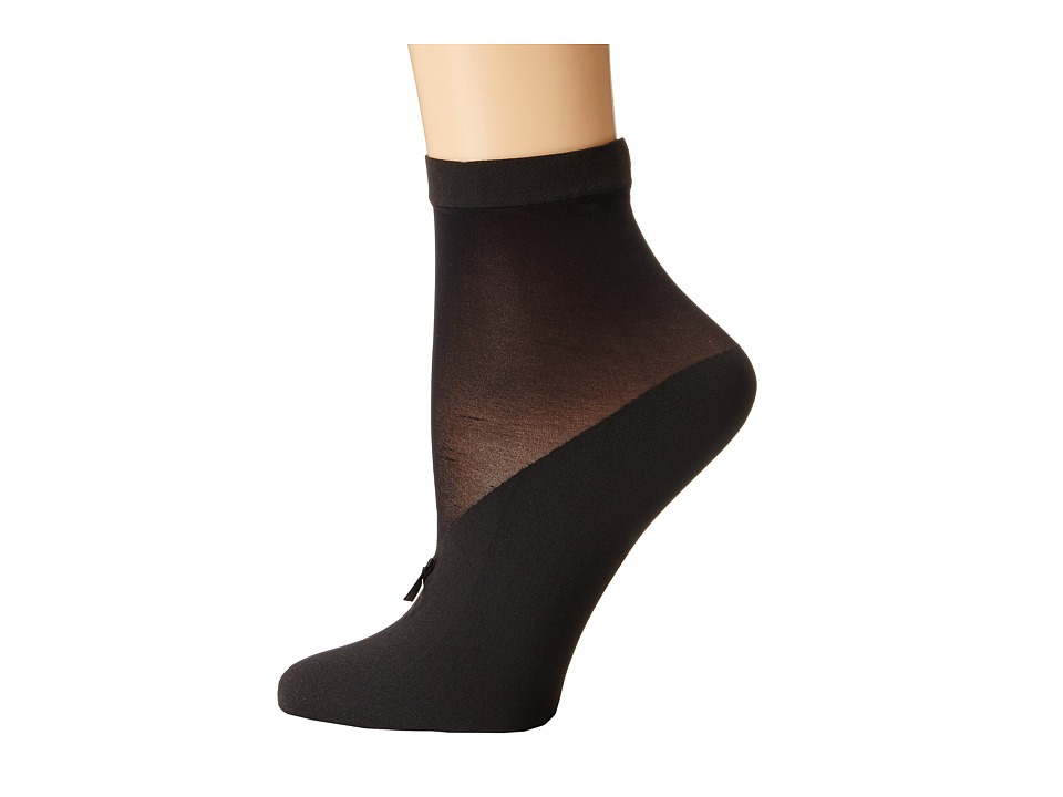 Wolford - Lisette Socks (Black/Black) Women's Crew Cut Socks Shoes