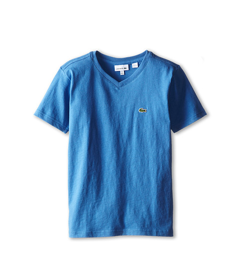 Lacoste Kids - S/S Classic Jersey V-Neck Tee (Toddler/Little Kids/Big Kids) (Wave Blue) Boy