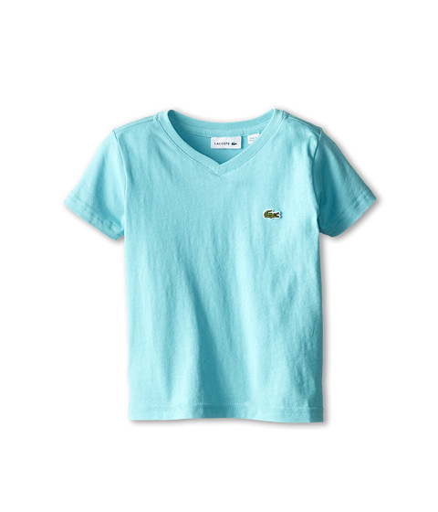 Lacoste Kids - S/S Classic Jersey V-Neck Tee (Toddler/Little Kids/Big Kids) (Corsica Aqua) Boy