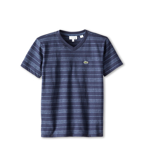 Lacoste Kids - S/S V-Neck Striped Tee (Toddler/Little Kids/Big Kids) (Navy Blue/Philippines Blue Jaspe) Boy