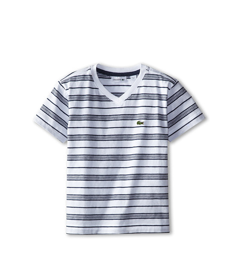 Lacoste Kids - S/S V-Neck Striped Tee (Toddler/Little Kids/Big Kids) (White/Philippines Blue Jaspe) Boy's T Shirt