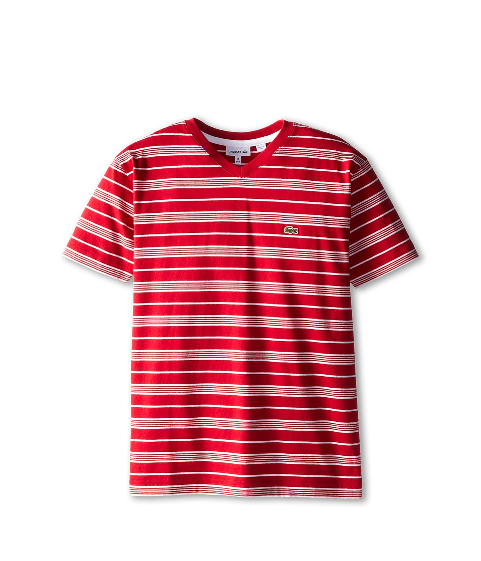Lacoste Kids - S/S V-Neck Striped Tee (Toddler/Little Kids/Big Kids) (Tokyo Red/White) Boy