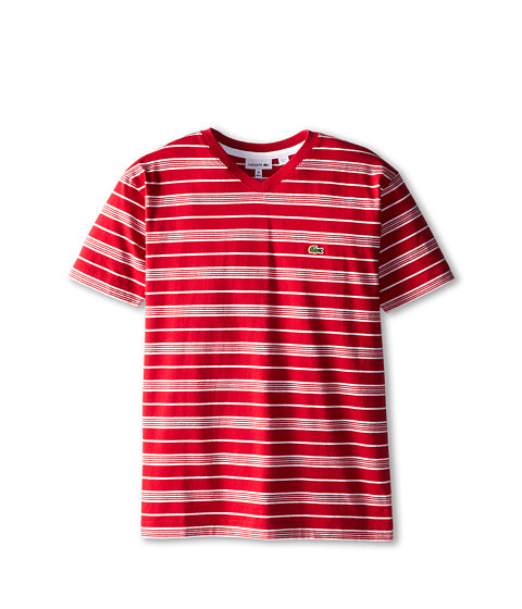 Lacoste Kids - S/S V-Neck Striped Tee (Toddler/Little Kids/Big Kids) (Tokyo Red/White) Boy's T Shirt