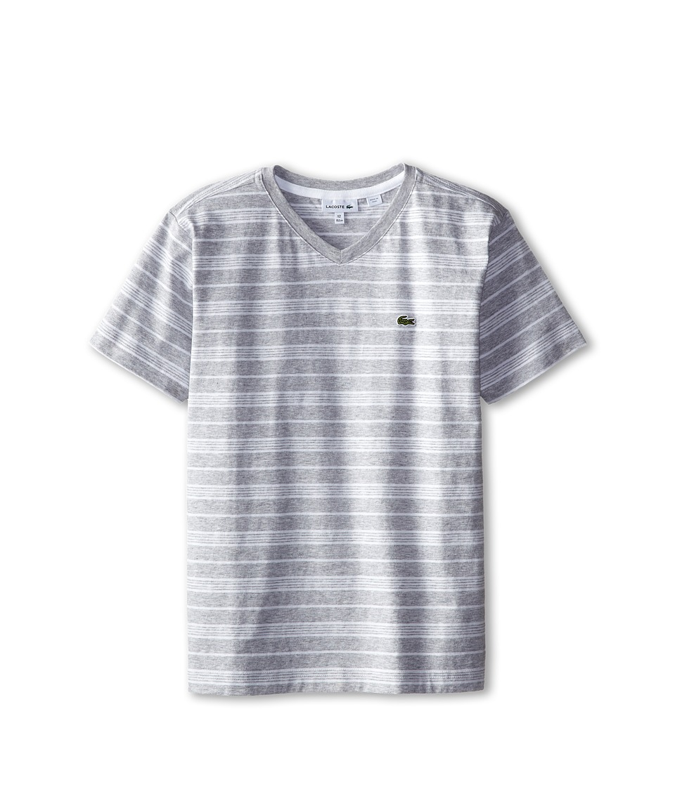 Lacoste Kids - S/S V-Neck Striped Tee (Toddler/Little Kids/Big Kids) (Silver Chine/White) Boy's T Shirt