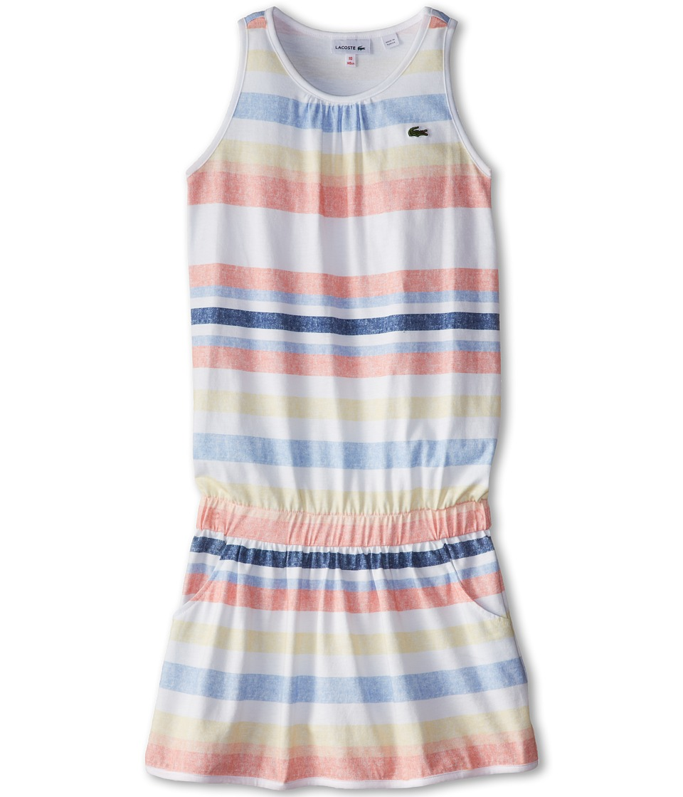Lacoste Kids - Sunwashed Striped Tank Dress (Toddler/Little Kids/Big Kids) (Multicolor/White) Girl's Dress