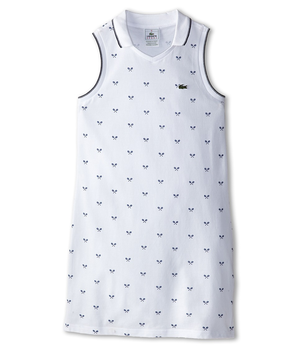 Lacoste Kids - Sleeveless Printed Tennis Racquet Pique Dress (Toddler/Little Kids/Big Kids) (White/Navy Blue) Girl