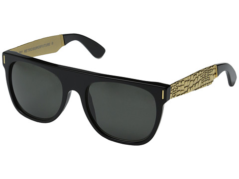 Super - Flat Top Francis Goffrato (Shiny Black/Embossed Gold Metal) Fashion Sunglasses