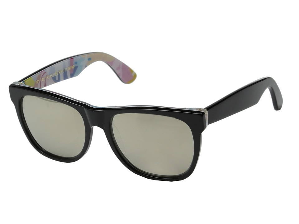 Super - Classic Ferragosto (Shiny Black/Ferragosto Print) Fashion Sunglasses