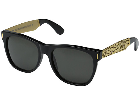 Super - Classic Francis Goffrato (Shiny Black/Embossed Gold Metal) Fashion Sunglasses