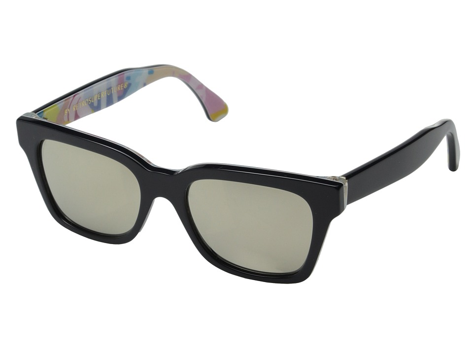 Super - Am rica Ferragosto (Shiny Black/Ferragosto Print) Fashion Sunglasses