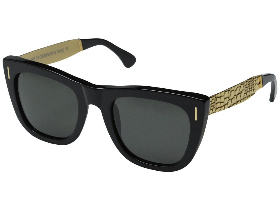 Super - Gals Francis Goffrato (Shiny Black/Embossed Gold Metal) Fashion Sunglasses