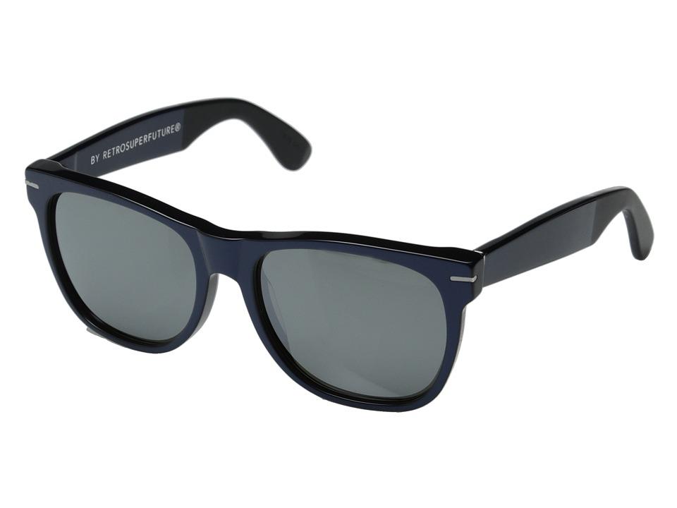 Super - Classic Ponente (Metallic Blue Acetate/Matte Black) Fashion Sunglasses