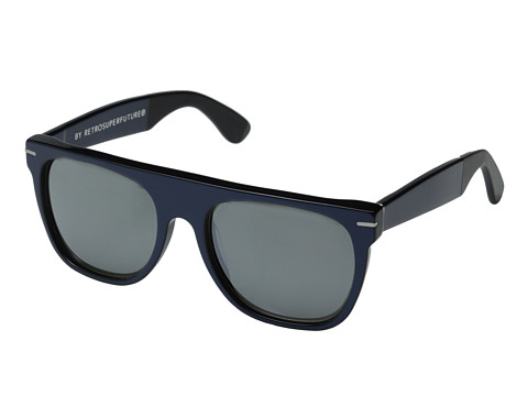Super - Flat Top Ponente (Metallic Blue Acetate/Matte Black) Fashion Sunglasses