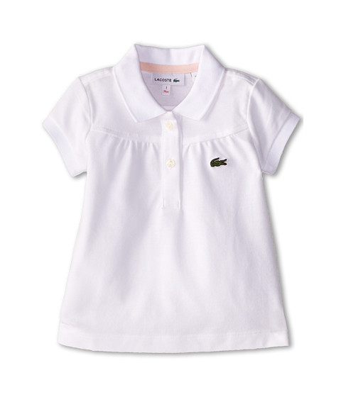 Lacoste Kids - S/S Classic Pique Polo (Toddler/Little Kids/Big Kids) (White/Nymph) Girl's Short Sleeve Pullover