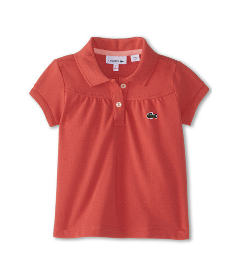 Lacoste Kids - S/S Classic Pique Polo (Toddler/Little Kids/Big Kids) (Reef/Princess Pink) Girl's Short Sleeve Pullover