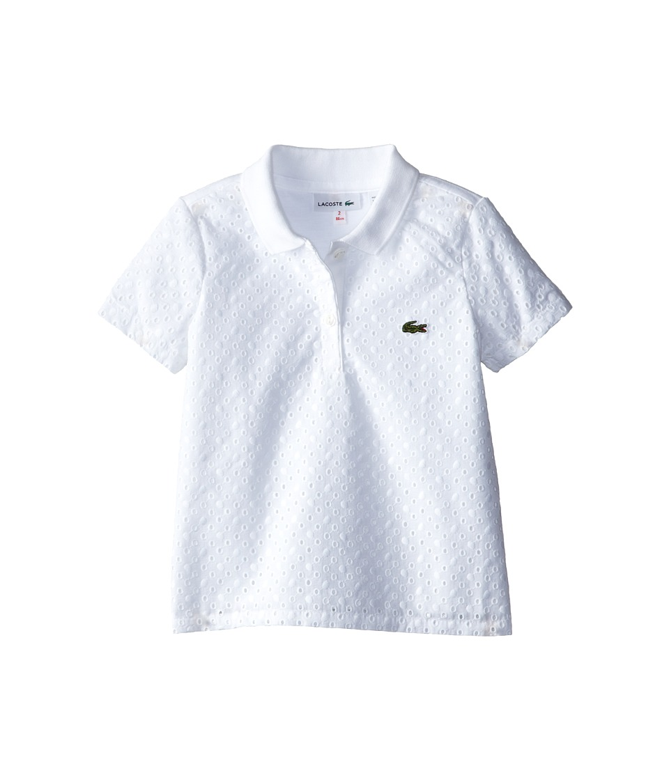 Lacoste Kids - S/S Eyelet Polo (Toddler/Little Kids/Big Kids) (White) Girl's Short Sleeve Pullover