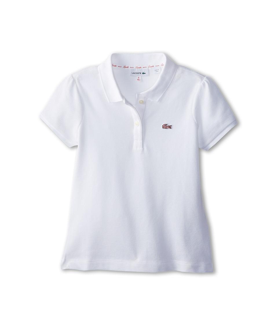 Lacoste Kids - S/S Novelty Croc Pique Polo w/ Back Gathering Detail (Toddler/Little Kids/Big Kids) (White) Girl