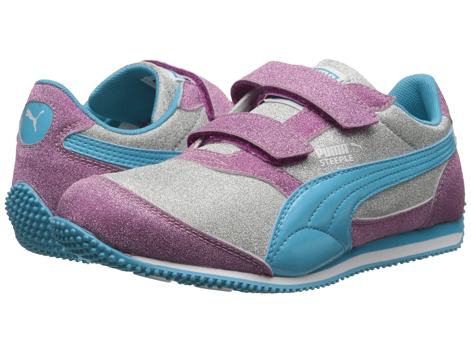 Puma Kids - Steeple Glitz Multi V (Toddler/Little Kid/Big Kid) (Puma Silver/Vivid Viola/Blue Atoll) Girls Shoes