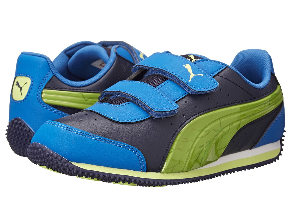 Puma Kids - Speed Light Up V (Toddler/Little Kid/Big Kid) (Peacoat/Strong Blue/Sharp Green) Boys Shoes