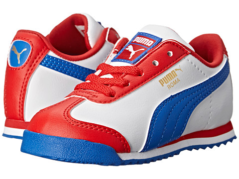 Puma Kids - Roma Basic (Toddler/Little Kid) (High Risk Red/White/Strong Blue) Boys Shoes