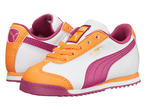 Puma Kids - Roma Basic (Toddler/Little Kid) (Nectarine/White/Vivid Viola) Girls Shoes