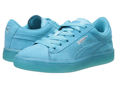Puma Kids - Suede Iced (Toddler/Little Kid) (Blue Atoll/Puma Silver) Kids Shoes