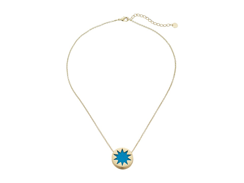 House of Harlow 1960 - Mini Sunburst Pendant Necklace (Teal) Necklace