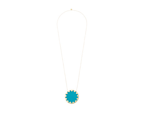 House of Harlow 1960 - Sunburst Pendant Necklace (Teal) Necklace