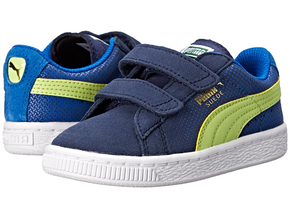 Puma Kids - Suede Shades V (Toddler/Little Kid/Big Kid) (Peacoat/Strong Blue/Sharp Green) Boys Shoes