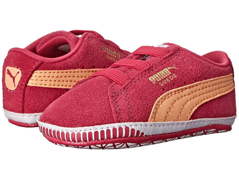 Puma Kids - Suede Crib (Infant/Toddler) (Beetroot Purple/Peach Cobler) Girls Shoes