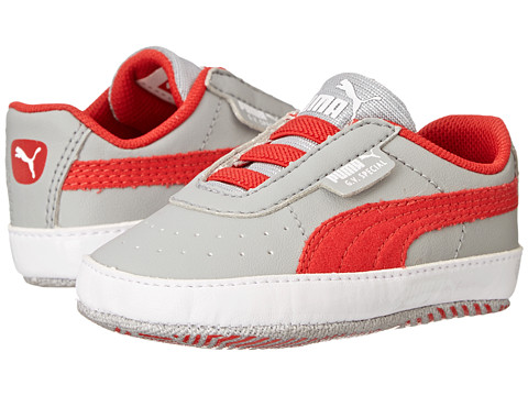 Puma Kids - GV Special Crib (Infant/Toddler) (Limestone Gray/High Risk Red/White) Boys Shoes