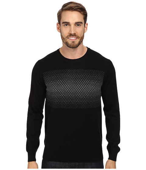 Perry Ellis - Pattern V-Neck Sweater (Black) Men's Sweater