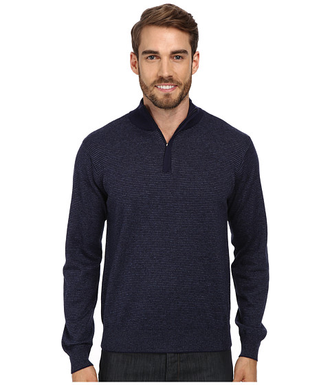 Perry Ellis - Stripe Quarter Zip Sweater (Evening Blue) Men