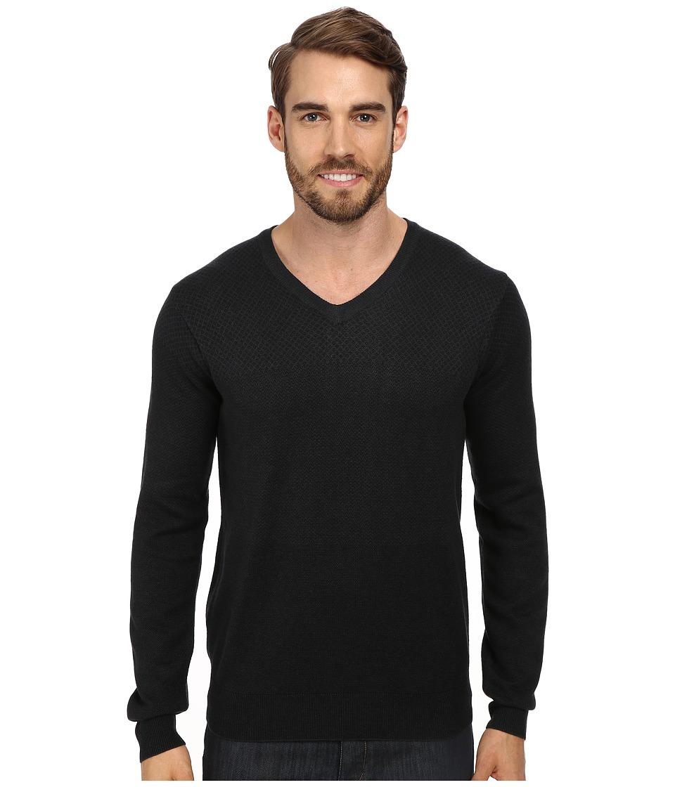 Perry Ellis - Tonal Multi Pattern V-Neck Sweater (Spruce Green) Men's Sweater
