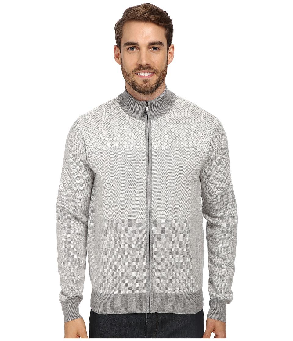 Perry Ellis - Tonal Multi Pattern Full-Zip Mock Sweater Jacket (Oatmeal Heather) Men
